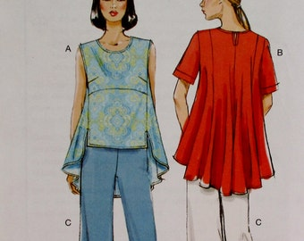 Vogue pattern, Very Easy, misses tunic, pants, pullover top, semi fitted pants, size 8, 10, 12, 14, 16