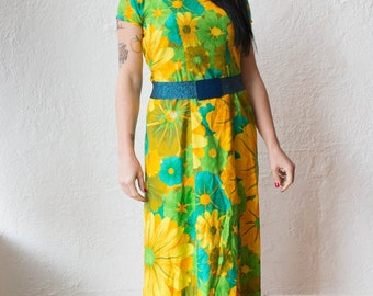 60s Floral Psychedelic Maxi Dress
