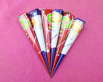 6 instant henna cones - Red-brown henna cones - No PPD or chemicals - Ready To Use Mixed Henna Tattoo - Pre Mixed Paste Hand Rolled Cones