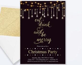 Christmas Party Invitation - Holiday Invitation - Holiday Invite - Christmas Party Invite - Gold and Sparkle Fairy Lights