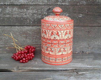 Handpainted wooden box.Jewelry wooden box. Mezen painting.Russian Folk art.A keg of wood for dry products.