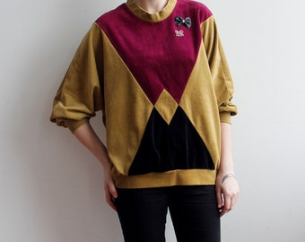 80s Velveteen Sports Jumper in Color Block One size