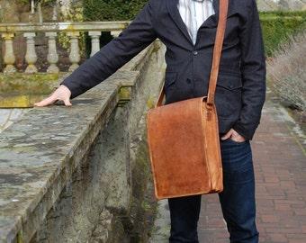 Leather Tablet Bag / Vertical Laptop Bag / Vertical Leather Bag / Vertical Messenger Bag / Laptop Messenger Bag / Tablet Messenger Bag