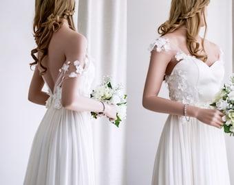 Boho Wedding Dress/ Silk Wedding Dress/ Beach Wedding Dress/ Simple Wedding Dress/ Cup sleeve Wedding gown.