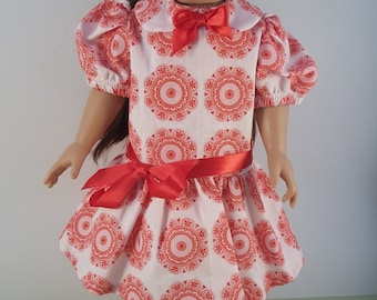 "red low-waisted dress for American Girl or 18"" dolls"