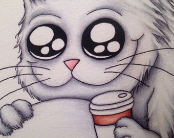 Coffee Cat Art Print Caffeine Crazy Kitty 8x10