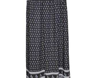 Printed Jersey Maxi Skirt, Black/Blue