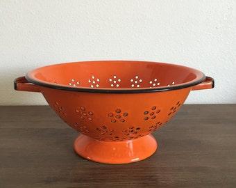 Orange Enamel Colander; Orange Colander; Vintage Strainer; Orange Enamelware; Vintage Colander; Japanese Enamelware; Vintage Enamelware