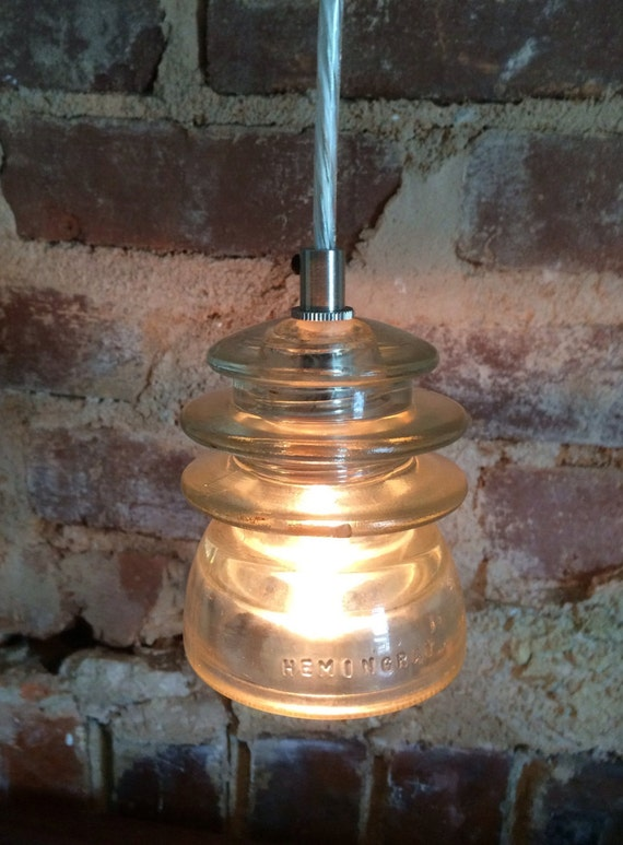 Items similar to vintage glass insulator pendant lights on for Antique insulator pendant lights