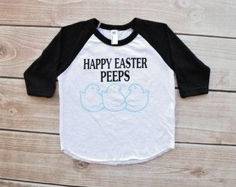 Easter shirt, happy Easter peeps, Easter outfit, raglan, boy Easter, girl Easter, tee, baseball tee, toddler, baby, first easter