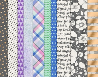 A Day in the Life : Night - Everyday Digital Papers - 12 x 12 - Scrapbooking Pack