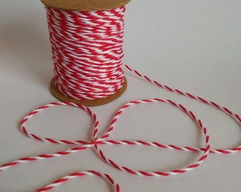 COTTON TWINE Decorative Rope String 10 Meters, Floral Supplies, Red and White Craft Rope