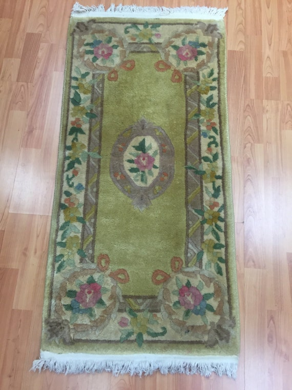 2' x 4' Chinese Aubusson Oriental Rug - Hand Made - 100% Wool