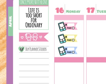 Cute Pay Phone Bill Reminder Planner Stickers (V89*)