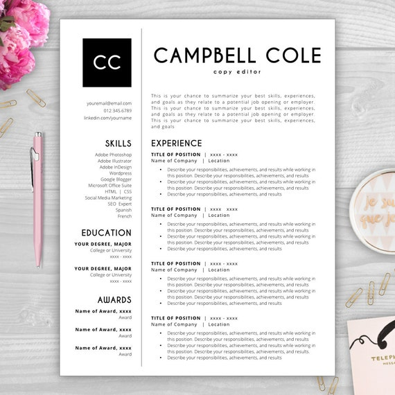 Exceptional Word Resume Template Initials Monogram Resume Template Cv Template Resume  Template Word
