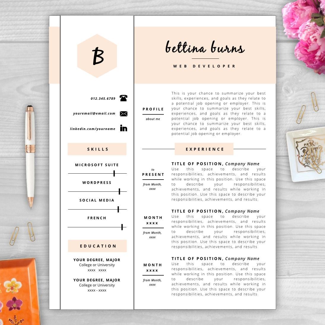 monogram resume template resume template word resume cover. Black Bedroom Furniture Sets. Home Design Ideas