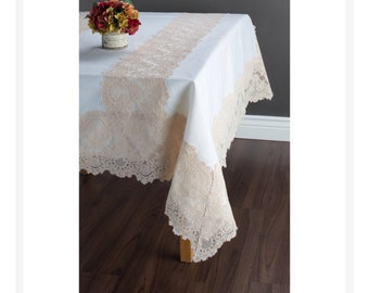 Lace table cloth - Linen with lace border and two lace strips - custom linen tablecloth