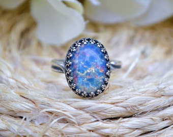 Blue Opal Ring, Antique Silver Adjustable Ring, Blue Glass Opal Ring, Silver Plated Opal Ring