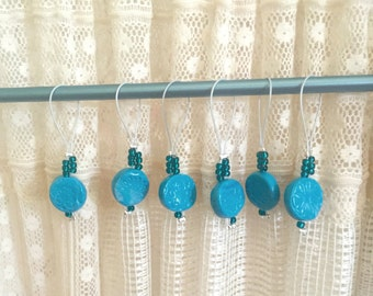 stitch markers (blue floral embossed)