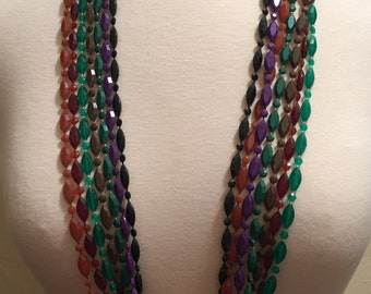 Set of 7 Vintage Plastic Necklaces, Retro, 1960s, 1970s, Fall Colors, Jewel Tones