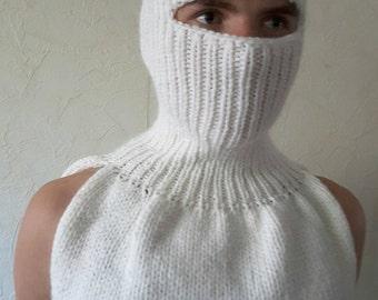 New unique handmade in Ukraine winter balaclava white soft balaclava kid mohair and acrylic hat face mask  balaclava