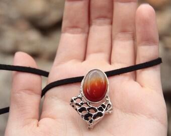orange agate hive necklace - gemstone - silver - organic - nature