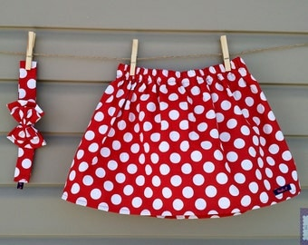 READY-to-go/READYTOGO - skirt and headband - set - red (baby and toddler) girl with big polka dots