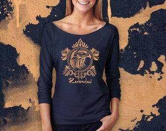 RAVENCLAW Sweater, RAVENCLAW Sweatshirt. Slouchy 3/4 Sleeve Off-the-Shoulder Navy Blue Pullover Top. Hogwarts House Shirt.