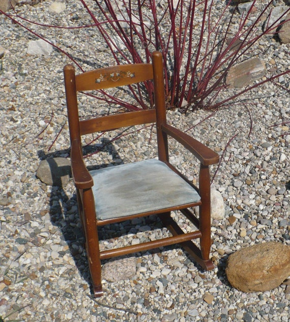 Vintage Wooden Rocking Chair Child Size By TheEarlyBirdFinds
