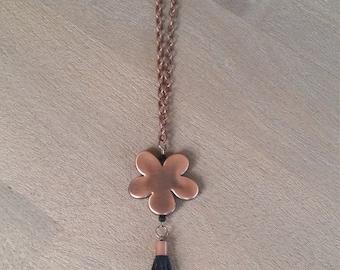 Copper Daisy Tassel Necklace