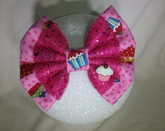 Cup Cake Hair Bow/ Pink - Small