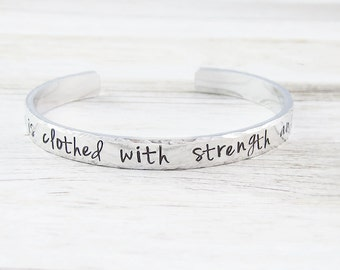 She is clothed with strength and dignity bracelet, customized bracelet, motivational gift, silver cuff bangle, quote jewelry, hand stamped