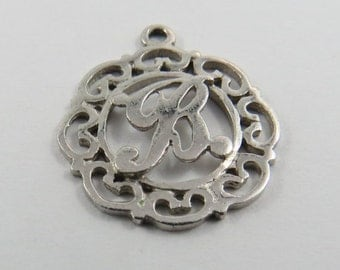 "Initial ""B""  Silver Charm of Pendant."