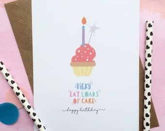 Personalised Cake Birthday Card - Cake Card - Personalised Cupcake Card - Card For Friend - Birthday Card For Friend - Card For Sister