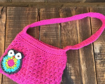 Owl crochet purse for girls with matching fabric lining, owls, handbag,accessories