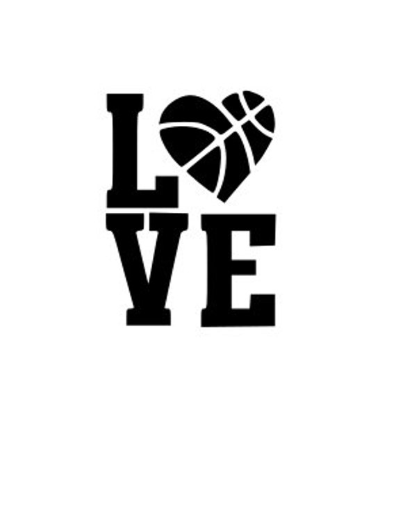 Basketball, Love, SVG File.  For Silhouette or Cricut Machines.  For use with HTV, Oracle 631/651, Paper cutter file