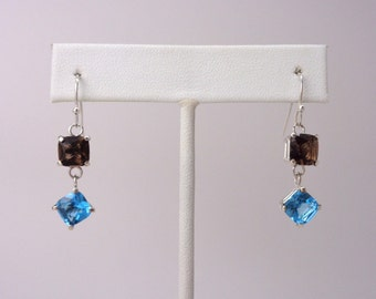 Smoky Quartz and Swiss Blue Topaz Dangle and Drop Earrings