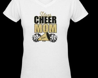 Glitter Cheer Mom T shirt