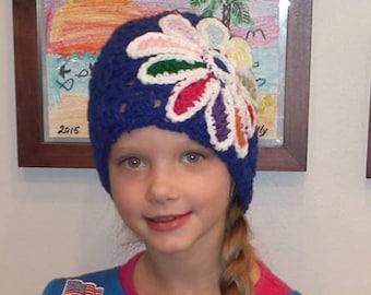 Daisy Beanie- Daisy Petal Beanie- Homemade Crocheted Daisy Hat