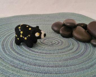 Constellation yellow star bear miniature needle felted wool figurine