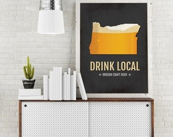 Oregon Beer Print Map - OR Drink Local Craft Beer Sign - Boyfriend Gift, Husband Gifts for Him, Beer Gift, Beer Art, Portland,Rogue Poster