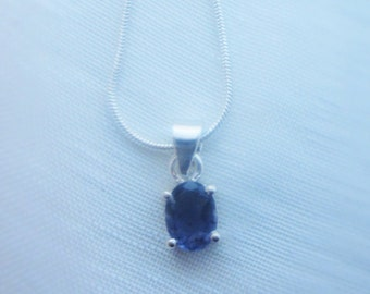 Oval Iolite gemstone, sterling silver pendant necklace