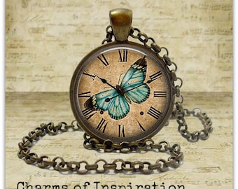 Butterfly clock Necklace Butterfly Jewelry Butterfly Pendant Teal Butterfly Steampunk Necklace Jewelry Bohemian Necklace Boho Necklace 184