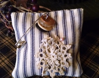 Cotton Ticking Pincushion