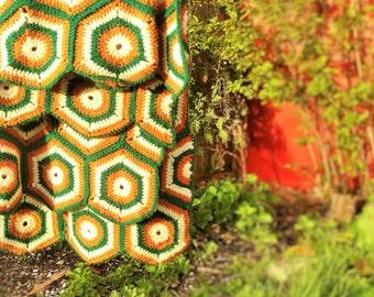 Vintage Hexagon Granny Square Blanket