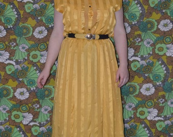 Golden Yellow Pleated Striped Dress with Original Belt Gold Buttons & Epaulettes