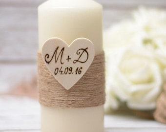 Wedding candle Personalized Rustic Unity Candle Hochzeitskerze   Kerze