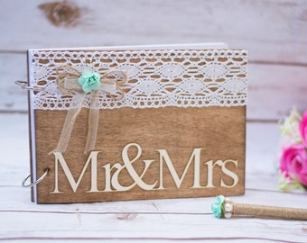 Wedding Guest Book Wooden Guestbook Rustic Guest Book Mr Mrs Guest Wedding Sign decor
