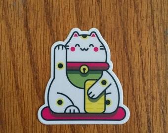 Cute Lucky Cat Sticker |  Maneki-Neko |  Welcoming Cat Sticker  |  Happy Kitty Sticker  |  Beckoning Cat Vinyl Sticker