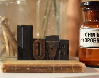 "Vintage Letterpress Wood Type - ""Love"""